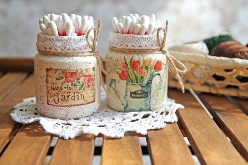 Две банки с рисунком тюльпаны для ватных палочек